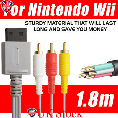 6 Feet Audio Video AV Composite 3RCA Cable TV Lead Wire For Nintendo Wii Game UK
