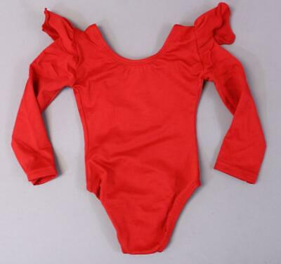 a7d03895dc The Leotard Boutique Baby Girl s Long Sleeve Ruffle Leotard PP7 Red Size  12-24M