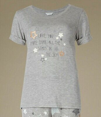 Ex Marks and Spencer Star Print Pyjama Top Size 6 (P139.8)