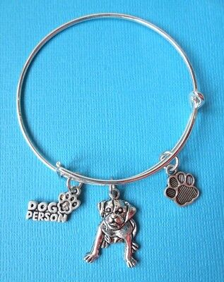 Handmade Staffy Dog Bangle Bracelet Charms Dog Person Staffordshire Bull Terrier