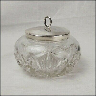 Cut Glass Sugar Bowl With Sterling Silver Lid c1905