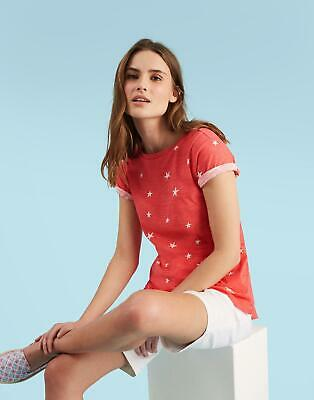 Joules Womens Nessa Print Jersey T shirt in RED SKY STAR