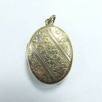 Lovely Antique Victorian Gilt Metal Oval Ornate Double Photo Locket Pendant