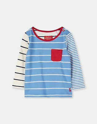 Joules Baby 204088 Breton Top With Patch Pocket in WHITBY BLUE STRIPE