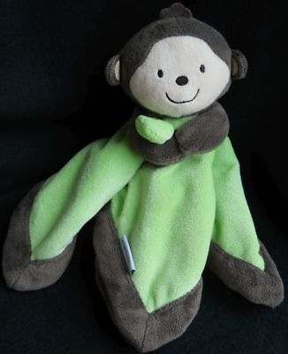 Carters MONKEY Lime Green Brown Tan PLUSH Security Blanket Lovey NWOT BABY Toy