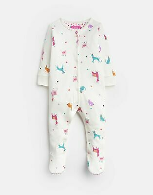 Joules 203974 Long Sleeve Babygrow With Feet in CREAM FESTIVAL FRIENDS