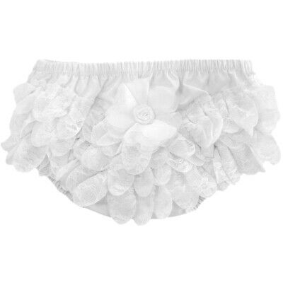 Baby Girl Romany Spanish Style White Frilly Lace & Flower Nappy Cover Pants SS19