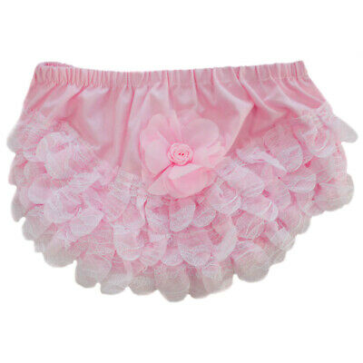 Baby Girls Romany Spanish Style Pink Frilly Lace & Flower Nappy Cover Pants SS19