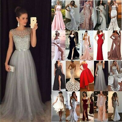 Women Sequin Evening Party Ball Prom Gown Formal Cocktail Wedding Beach Dresses