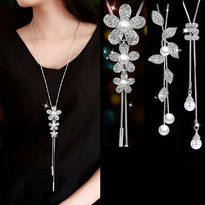 Fashion Flower Leaf Crystal Pearl Pendant Long Sweater Necklace Chain Jewelry