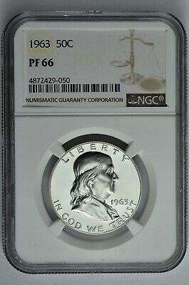 1963 50c Silver Proof Franklin Half Dollar NGC PF 66