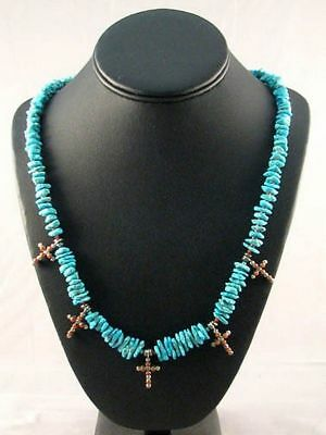 Native American Lakota Indian Hand Made Turquoise Nuggets Necklace with Crosses