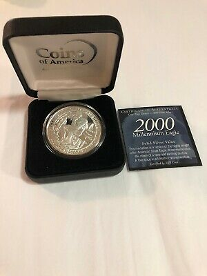 2000 MILLENNIUM EAGLE / THINKER / FROM THE MIND OF MAN - 1 oz .999 SILVER ROUND