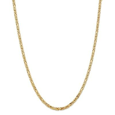 "14k Yellow Gold 3.25mm Solid Plain Byzantine Chain w/ Lobster Clasp 16"" - 30"""