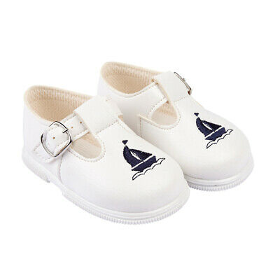 Baypods Toddler & Boys Spanish Style Romany Walking Shoes White & Navy Blue Boat