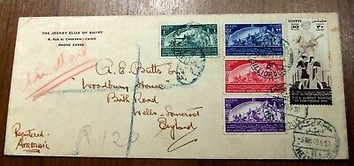 3 Covers to and from Egypt - 2 Jockey club of Egypt + 1 Reg. letter