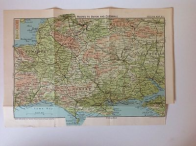 Routes To Devon And Cornwall Antique Map c1922 Bartholomew Dorset Somerset Wilts