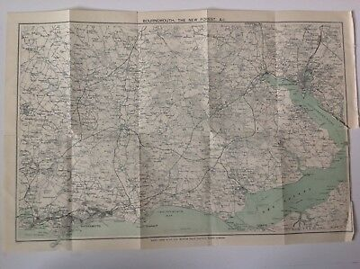 Bournemouth, The New Forest, &c, 1921 Vintage Map,  Atlas