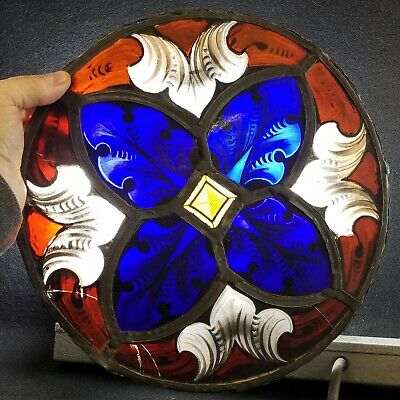 """Antique Leaded Stained Glass Gothic Window 12""""+ Diameter"""