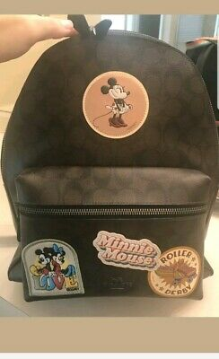 3c55d22b29e New Women s Coach X Disney F29355 Minnie Mouse Signature Leather Backpack  Bag