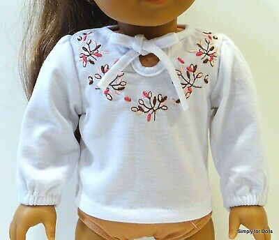 "WHITE w/ PINK & BROWN Flowers LS DOLL SHIRT fits 18"" AMERICAN GIRL Doll Clothes"