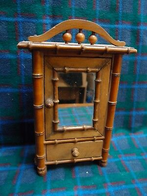ANTIQUE MINIATURE FAUX BAMBOO WARDROBE MIRRORED TRINKET CUPBOARD with DRAWER