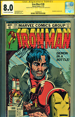 Iron Man #128 Cgc 8.0 Ss 2X Signed-Stan Lee & Bob Layton-Classic Serious Cover!!