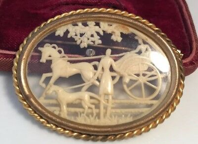 vintage Art Deco jewellery lovely lady & dog with horse & carriage signed brooch