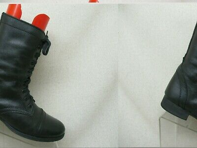 17a32f5ea647c Steve Madden Troopa Black Leather Zip Lace Up Combat Boots Womens Size 8 M