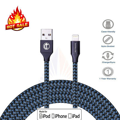 Blue Heavy Duty Metal Braided Lightning USB Charger Cable 3M For iPhone X 8 7 6s