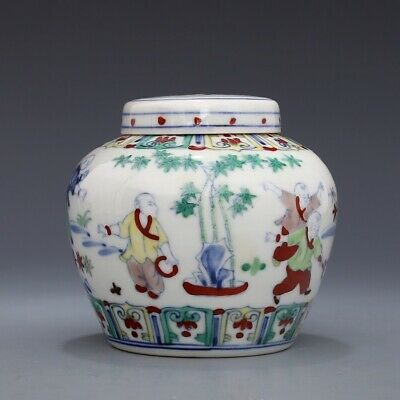 Ming chenghua China antique Porcelain doucai Hand painting Children jar pot