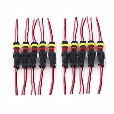 10 Pair 2Pin 20AWG Way Car Waterproof Male Female Electrical Connector Plug Wire