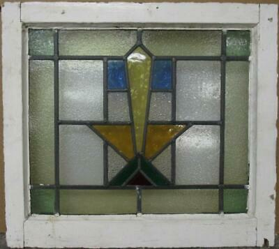 "OLD ENGLISH LEADED STAINED GLASS WINDOW Gorgeous Geometric Design 21"" x 19"""