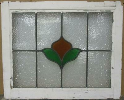 """MID SIZED OLD ENGLISH LEADED STAINED GLASS WINDOW Abstract Floral 24.5"""" x 20"""""""