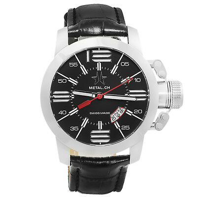 Metal.CH Chronometrie Initial Mens Swiss Made Black Leather Watch 1120.47
