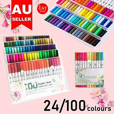 24/100x Art Graphic Drawing Manga Twin Tip Brush Fineliner Sketch Marker Pen Col