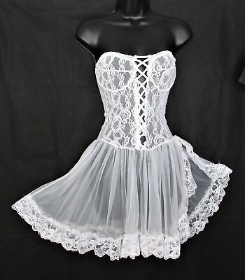 VINTAGE Strapless White Chiffon & Lace Bridal BABYDOLL NIGHTGOWN 34 Nightie S