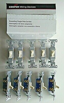 Grounding Single Pole Switch 10 pieces Almond 15A-120V AC COOPER Wiring 1301-7A