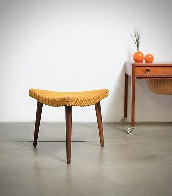 50s Danish Modern ROSEWOOD TRIANGLE Foot Stool Chair Ottoman Mid Century Vintage