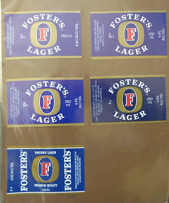 Vintage Australian Beer Labels - Lot Of 5 Carlton & Untied, Fosters Lager