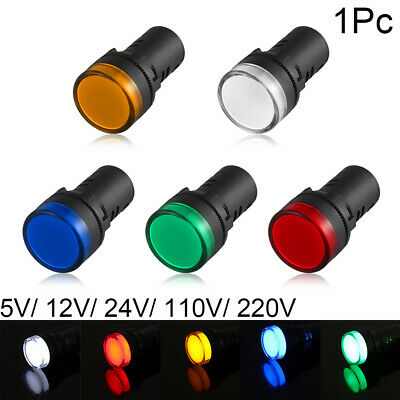 5V 12V 24V 110V 220V LED Indicator Pilot Light Signal Lamp 22mm Panel Mount