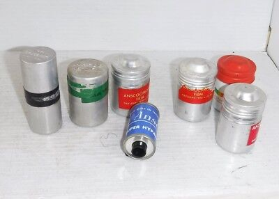 Ansco Aluminum 35 mm 120 Film Cans  Lot of 6 with Super Hypan Film Cartridge