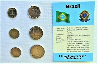 BRAZIL, SET of 6 GEM UNCIRCULATED COINS