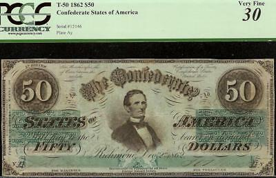 Rare Variety 1862 $50 Dollar Confederate States Currency Civil War Note T50 Pcgs
