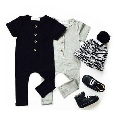 Newborn Baby Boy Girl Unisex Clothes Casual Short Sleeve Romper Jumpsuit Outfits