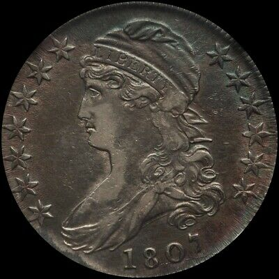 1807 Capped Bust Silver Half Dollar, Nice AU Almost Uncirculated . No Reserve!