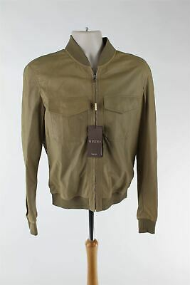 2902e9d54 GUCCI CALF SUEDE Leather Wool Silk Brown Coffee Bomber Jacket XXL ...