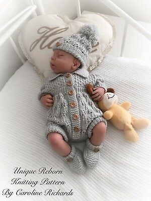 """""""Bluebell """" Romper Knitting pattern for Reborn doll 16 -22"""" or 0-3 Mth Old Baby"""