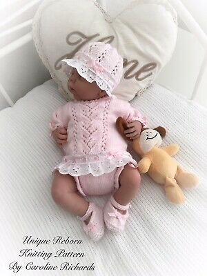 """""""Sweetpea"""" Angel Set knitting pattern for Reborn doll 16 -22"""" or 0-3 Mth Baby"""