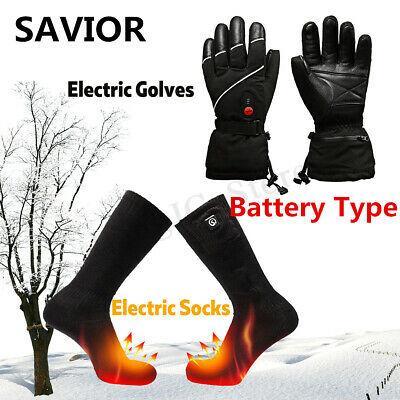 SAVIOR Electric Heated Gloves/Socks Battery Thermal Warm Cycling Motorcycle AU